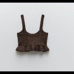 Zara  Brown Knit Crop Top